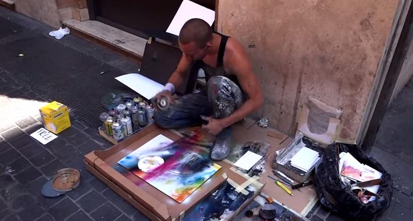 Artiste dans les rues de Rome