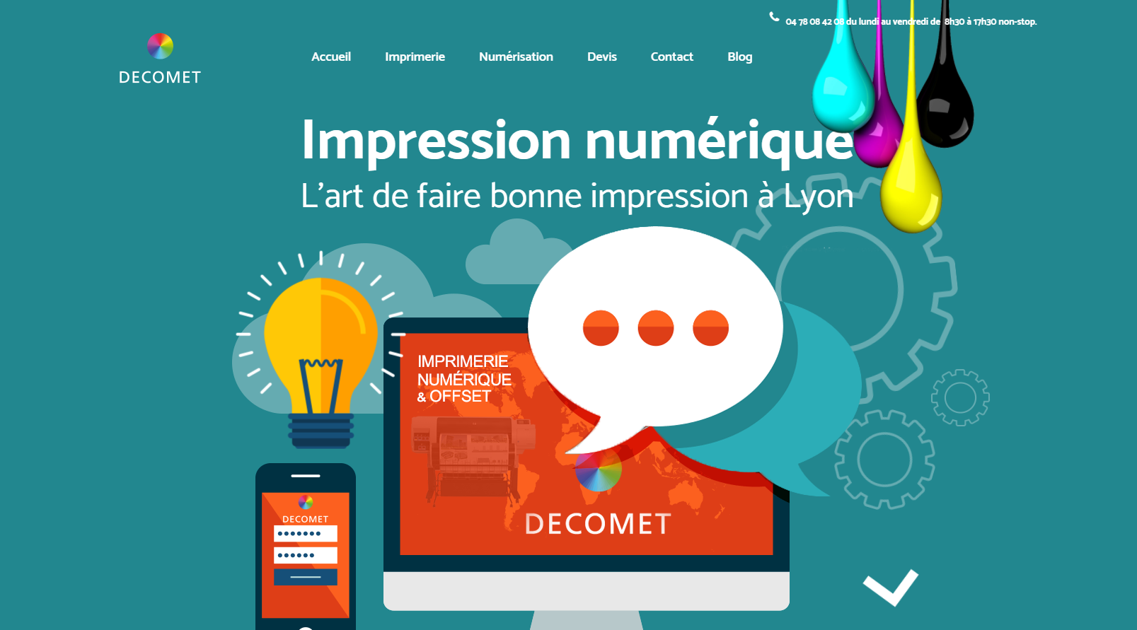 site internet Imprimerie decomet FBmediaworks creation de site internet lyon